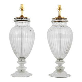 Pair of Monumental Murano Lamps