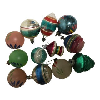 Vintage Assorted Glass Ornaments - Set of 12