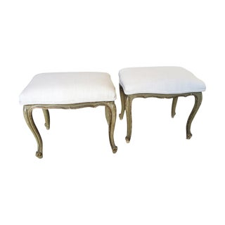 French Louis XV Style Carved Painted Benches - A Pair