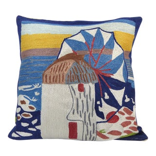 Handmade Abstract Beach Crewel Work Pillow