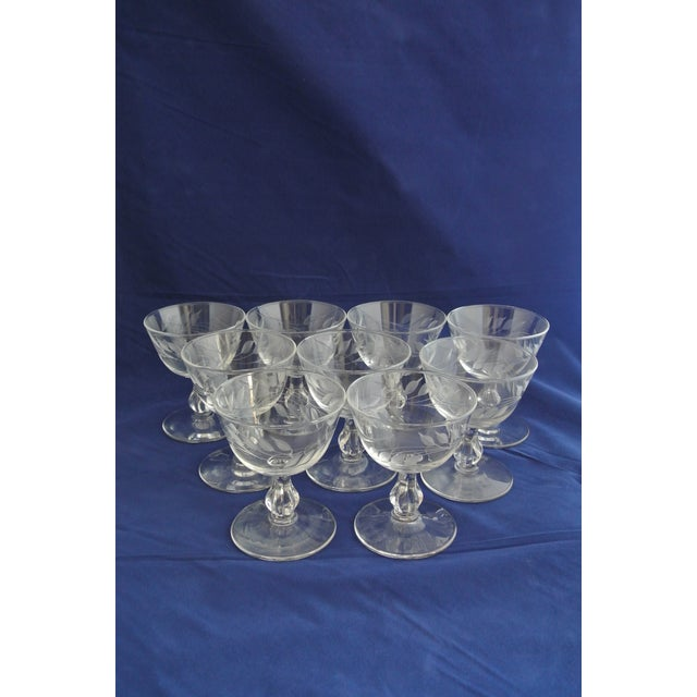 Antique Etched Crystal Champagne Coupes - Set of 9 - Image 3 of 11
