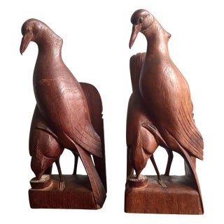 Carved Bird Bookends - A Pair