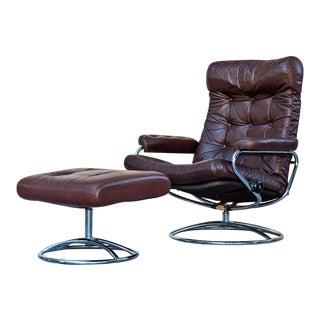 Ekornes Scandinavian Reclining Lounge Chair & Ottoman