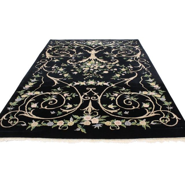 "Vintage Indian Black Field and Modern Aubusson Style Rug - 6' x 8'10"" - Image 3 of 4"