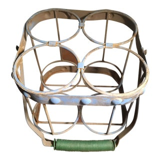1930's French 4 Bottle Metal Carrier