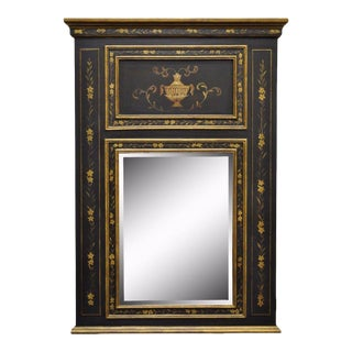 Neoclassical Black & Gold Painted Beveled Glass Trumeau Mirror
