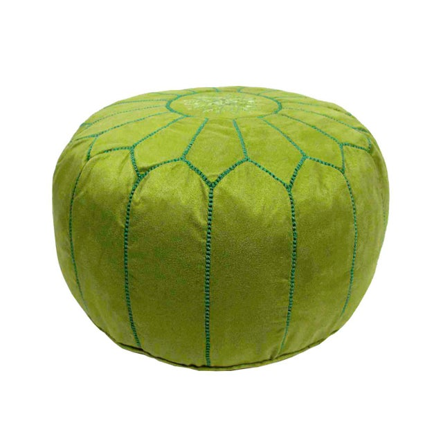 Suede Leather Pouf - Lime Green (Stuffed) - Image 3 of 3