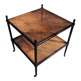 Ebonized Wood & Cane Side Table