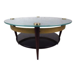 Mid-Century Floating-Top Glass & Brass Coffee Table