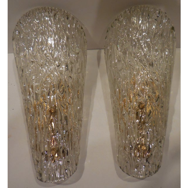 Vintage Textured Glass Sconces - Pair - Image 5 of 11