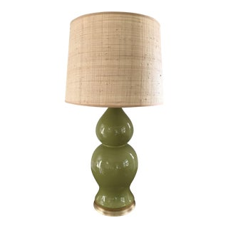 Green Ceramic Gourd Lamp With Gilded Gold Base