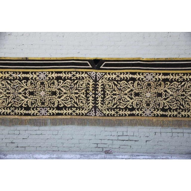 19th Century Metallic Appliqued Velvet With Fringe - Image 3 of 8