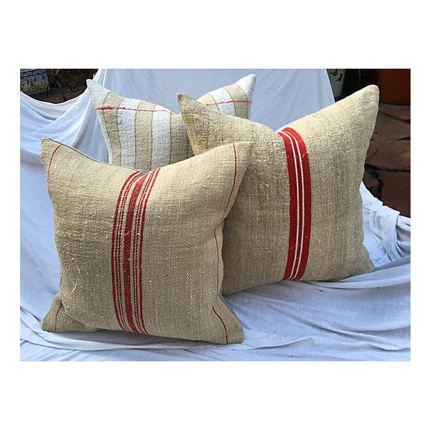Vintage French Grain Sack Pillows - Set of 3 - Image 2 of 7