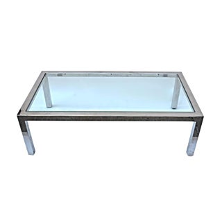 Pace Chrome & Glass Top Coffee Table