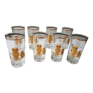 Culver Mid-Century Gold Owl Highball Glasses - Set of 8