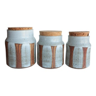 Striped Studio Pottery Canisters - Set of 3
