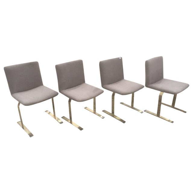 Saporiti Brass & Gray Chairs - Set of 4 - Image 1 of 6