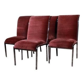 Milo Baughman Chrome & Velvet Dining Chairs - Set of 4