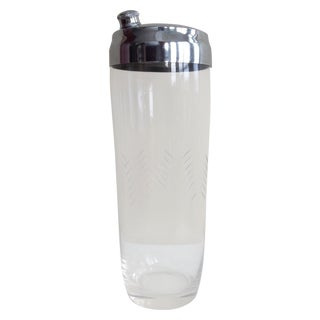 Vintage Glass Etched & Chrome Cocktail Shaker