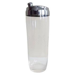 Vintage Glass Etched & Chrome Cocktail Shaker
