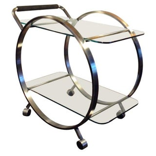 Brushed Chrome Milo Baughman Style Bar Cart
