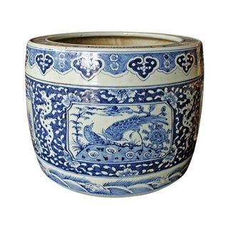 Vintage Chinese Blue & White Porcelain Planter