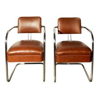 1930s Chromcraft Cantilever Leather Armchairs- A Pair