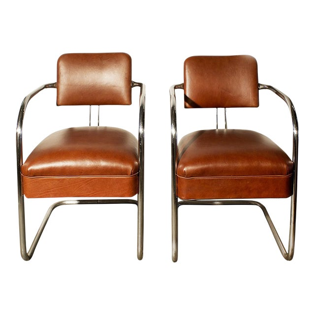 Image of 1930s Chromcraft Cantilever Leather Armchairs- A Pair