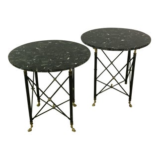 Neoclassical Marble Stone Tray Tables - A Pair