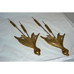 Image of Mid-Century Brass Cattail Wall Hangings - A Pair