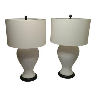 Pair of Bassett White Ceramic Urn Shaped Table Lamps