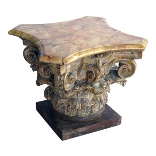 From the Tony Duquette collection a well-carved Italian neoclassical Corinthian capital with faux marble top