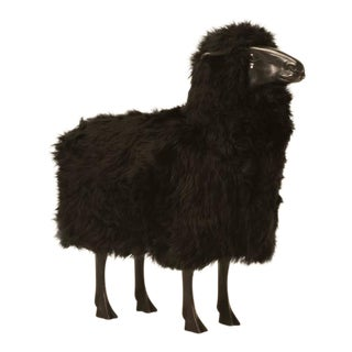 Lalanne Inspired Black Sheep in Bronze with Real Fur