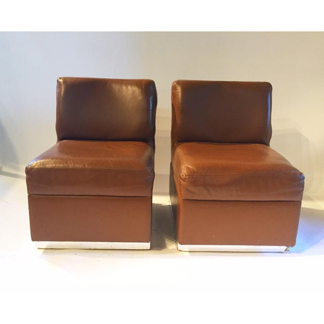 Image of 1970s Gucci Leather Slipper Chairs - a Pair