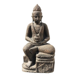 Stone Carved Seated Buddha From Bali