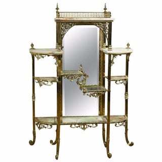 French Brass and Onyx Dressing Etagere