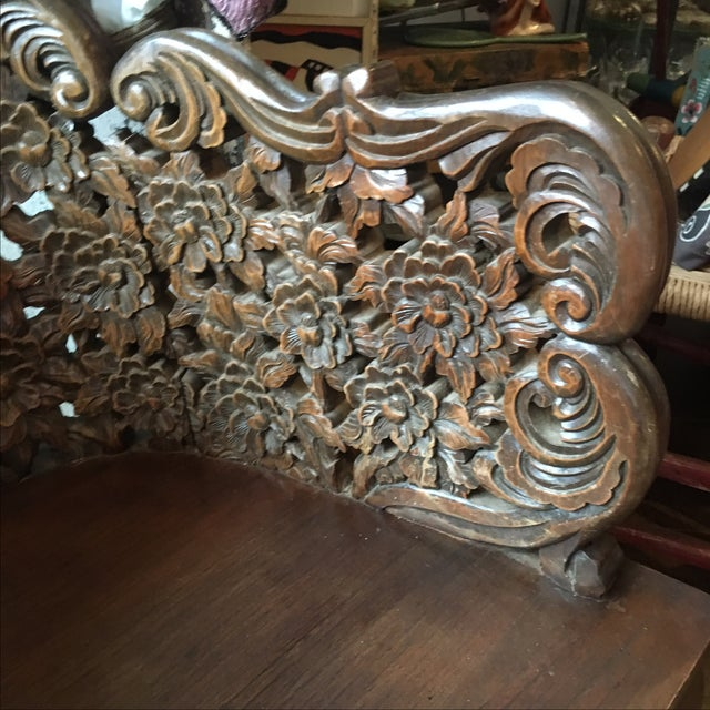 Ornately Carved Wooden Asian Accent Chair - Image 5 of 10