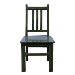 Asian Style Handmade Dark Green Small Wood Chair