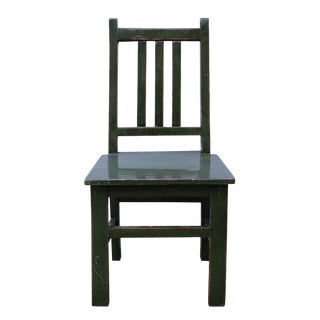 Asian Style Handmade Dark Green Small Wood Chair