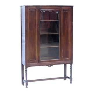 Antique Mahogany Depression Era China Cabinet