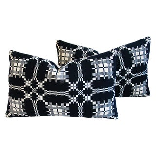 Custom 19th-C. New England Coverlet Pillows - Pair