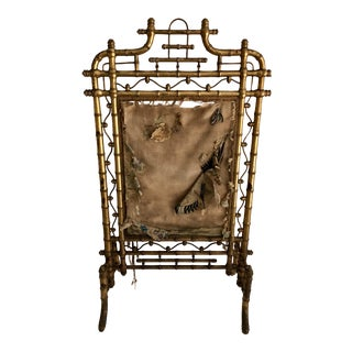 19th C. French Faux Bamboo Fire Screen