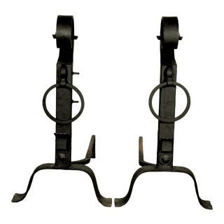 Large Wrought Iron Andirons - A Pair