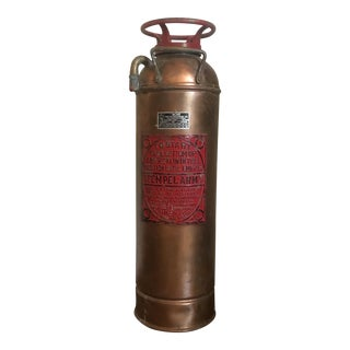 Vintage Copper Stempel Army Fire Extinguisher With Red Label
