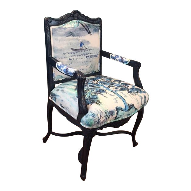 French Louis XV Style Padded Arm Chair - Image 1 of 3
