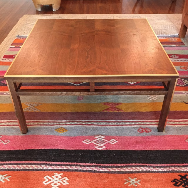 Image of Vintage Walnut and Brass Square Coffee Table