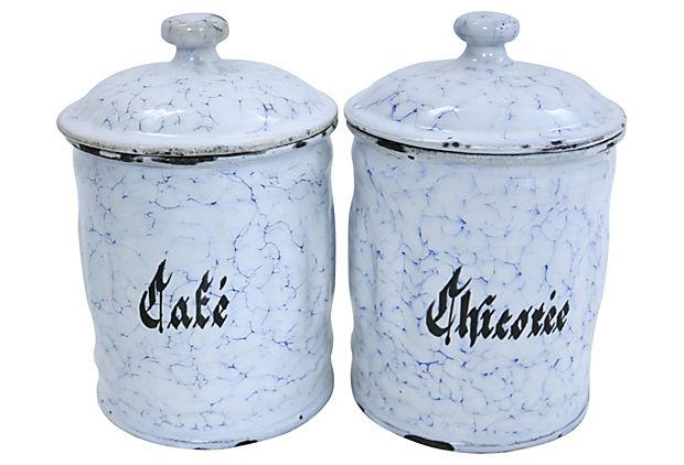 vintage french enamel kitchen canisters a pair chairish