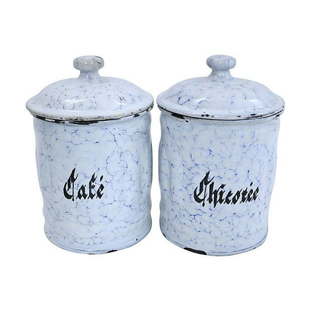 enamel kitchen canisters vintage french enamel kitchen canisters a pair chairish 2522