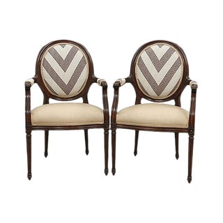 Greek Key Oval Backed Fauteuils - A Pair
