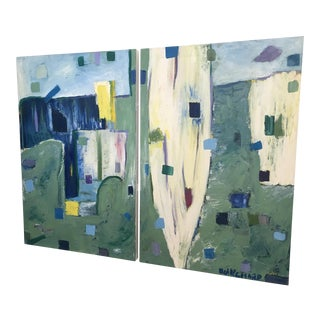 Canvas Abstract Oil Diptych